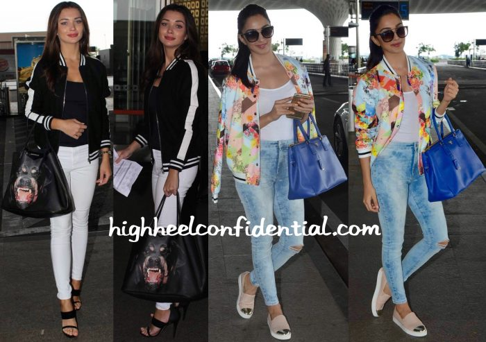 Amy Jackson Photographed With a Givenchy Tote And Kiara With a Prada  At Mumbai Airport-2
