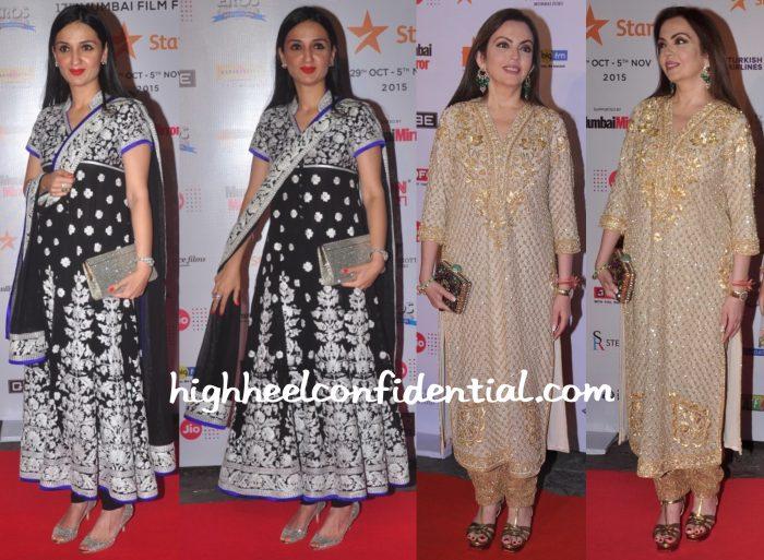 Anu Dewan And Nita Ambani Wear Abu Jani Sandeep Khosla To MAMI 2015 Film Festival Opening Night