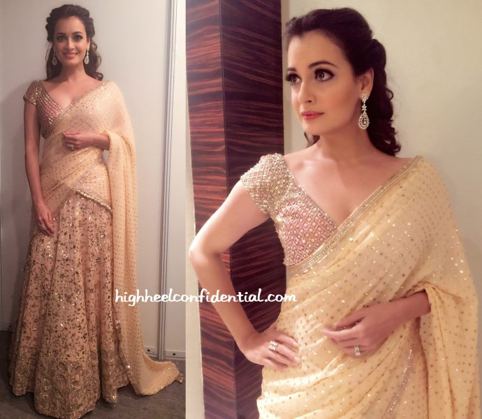 Dia Mirza In Manish Malhotra And Shaheen Abbas For Gehna Jewelry At An Event In Delhi-1