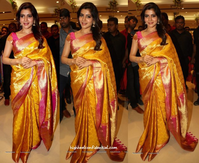 Sari Style- Samantha Ruth Prabhu At South India Shopping Mall Launch-1