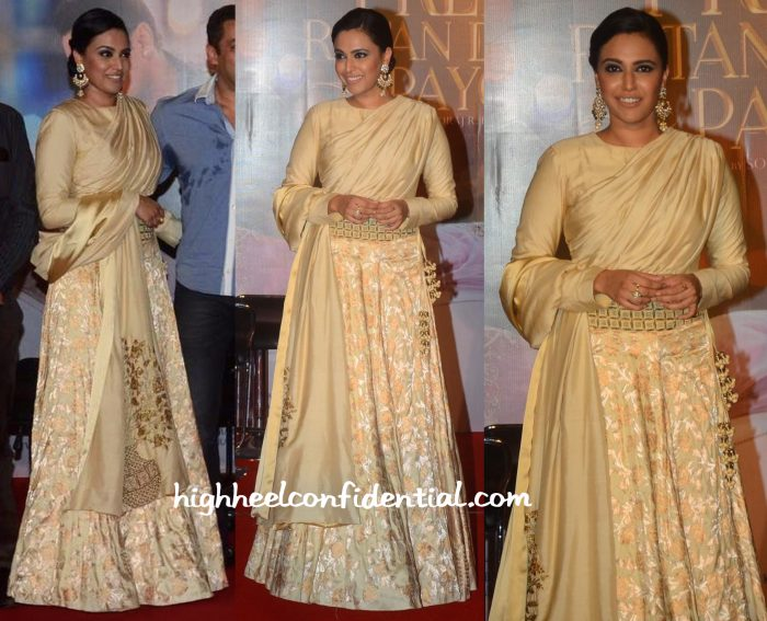 Swara Bhaskar In SVA By Sonam And Paras Modi At Prem Ratan Dhan Payo Trailer Launch-1