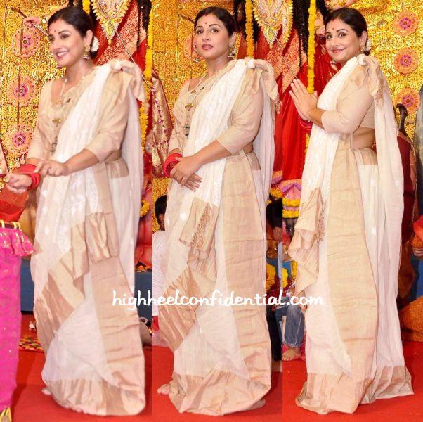 Vidya Balan Wears A Fatherland Sari To Durga Puja Celebrations-2