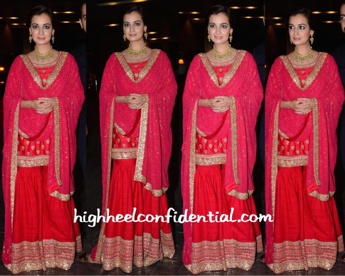Dia Mirza In Sabyasachi At Masaba Gupta-Madhu Mantena Wedding Reception-1