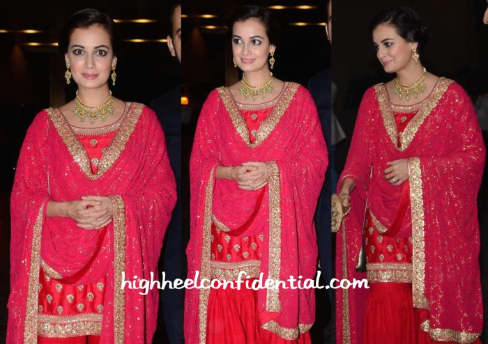 Dia Mirza In Sabyasachi At Masaba Gupta-Madhu Mantena Wedding Reception-2