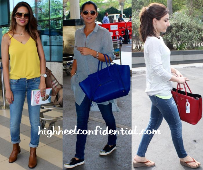 Esha Gupta, Sania Mirza And Soha Ali Khan Photographed At Mumbai Airport-1