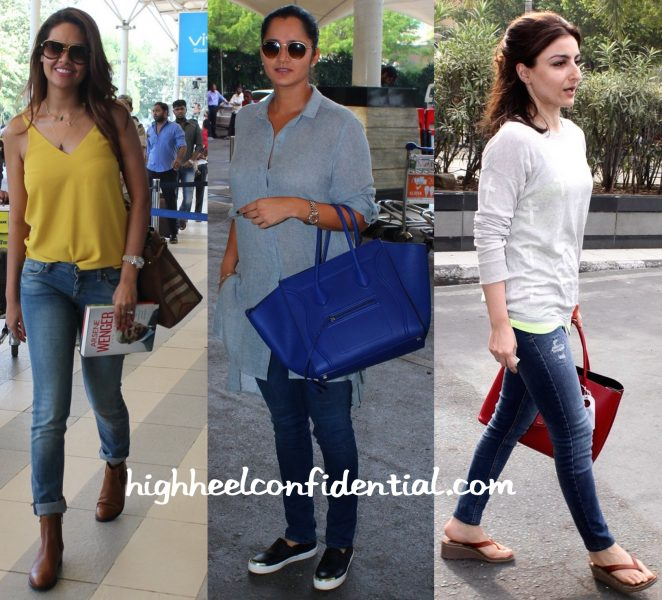 Esha Gupta, Sania Mirza And Soha Ali Khan Photographed At Mumbai Airport-2