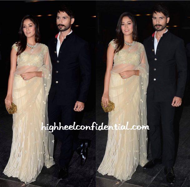 Mira Rajput (In Arpita Mehta) And Shahid Kapoor At Masaba Gupta-Madhu Mantena Wedding Reception-2