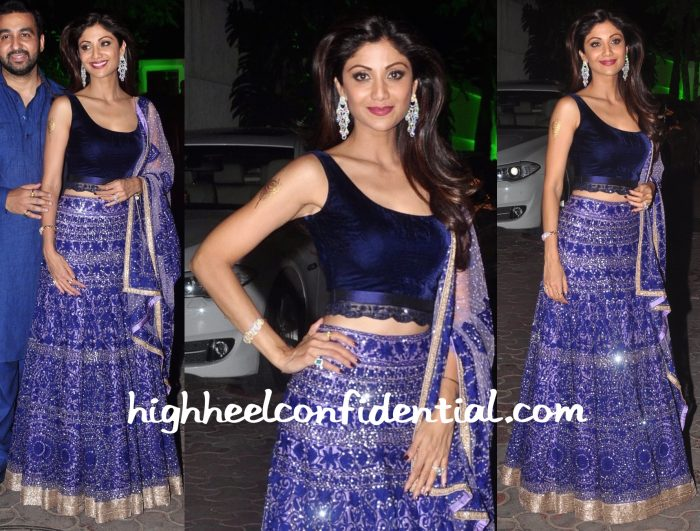 Shilpa Shetty Wears Manish Malhotra To Her Diwali Party-1