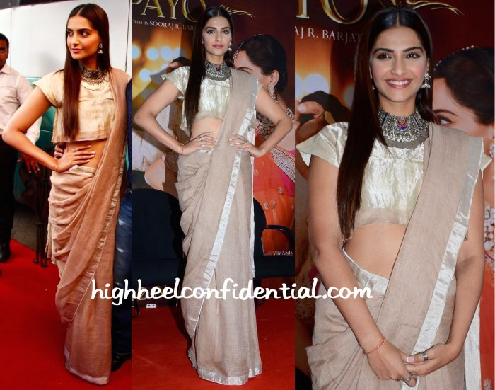 Sonam Kapoor Wears Anavila To Prem Ratan Dhan Payo Promotions:Press Meet-1