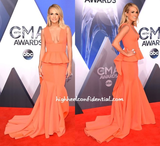 carrie-underwood-gauri-nainika-cma-awards-2015-peach