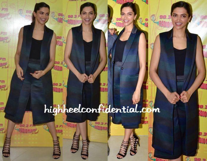 Deepika Padukone Wears ASOS White To Bajirao Mastani Promotions At Red FM Studios