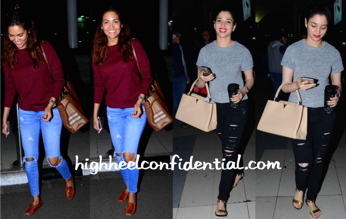 Esha Gupta And Tamannaah Bhatia Photographed At Mumbai Airport-1