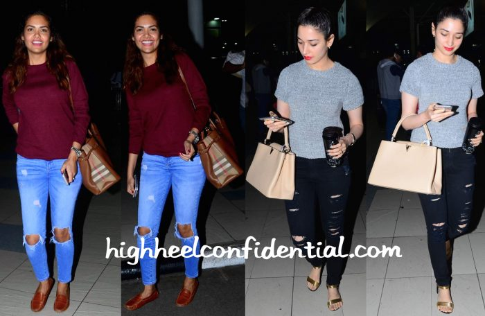 Esha Gupta And Tamannaah Bhatia Photographed At Mumbai Airport-2