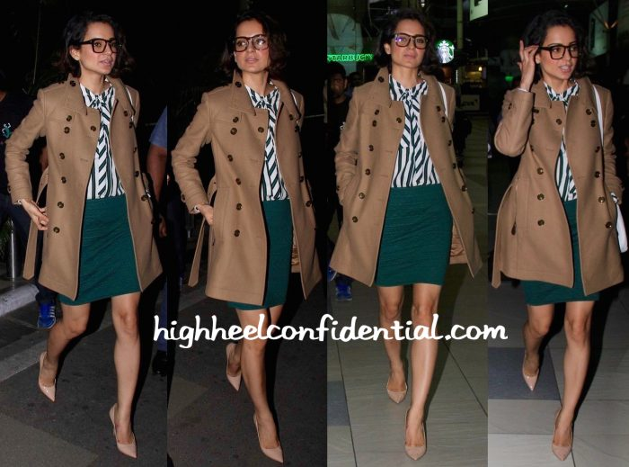 Travel(v)ogue- Kangana Ranaut (In Burberry) Photographed At The Airport
