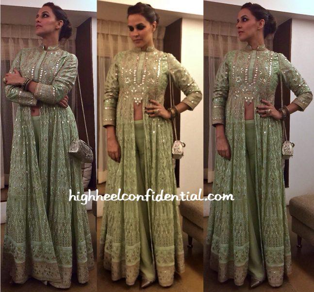neha dhupia in anita dongre at a wedding in mumbai-2