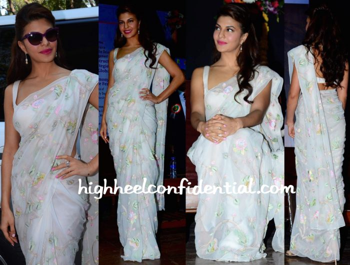 Jacqueline Fernandez in shehlaa sari at International Commerce Conference