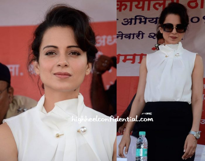 Kangana Ranaut Wears Madison And Victoria Backham To A Road Safety Campaign Launch-2