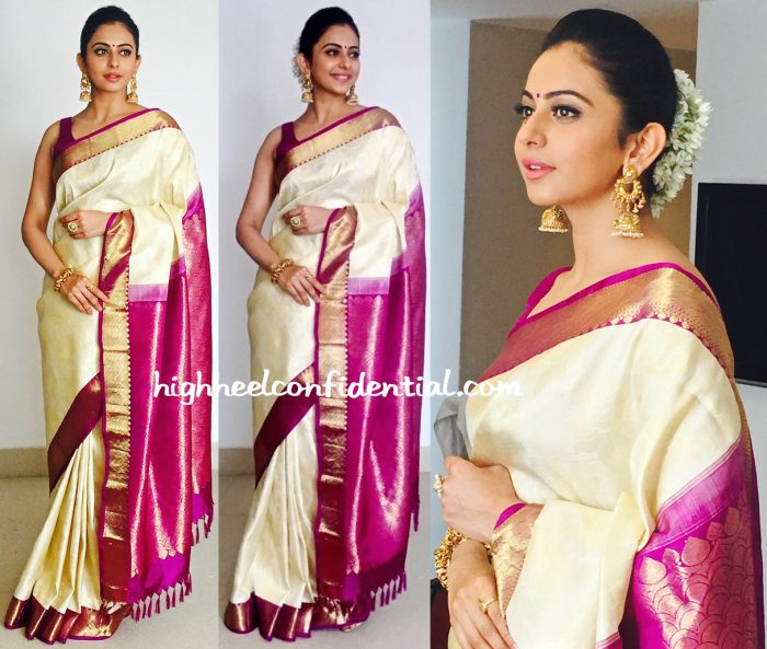 Rakul Preet Goes Traditional In R S Brothers For South India Shopping Mall Launch-1