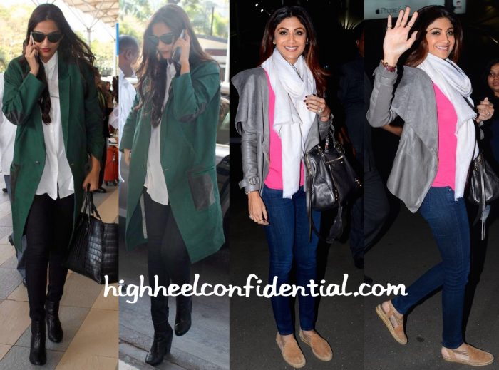 Sonam Kapoor And Shilpa Shetty Photographed At The Airport (With Balenziaga Bags In Tow)