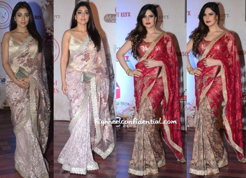 shriya-saran-zarine-khan-vikram-phadnis-25th-anniversary-fashion-show