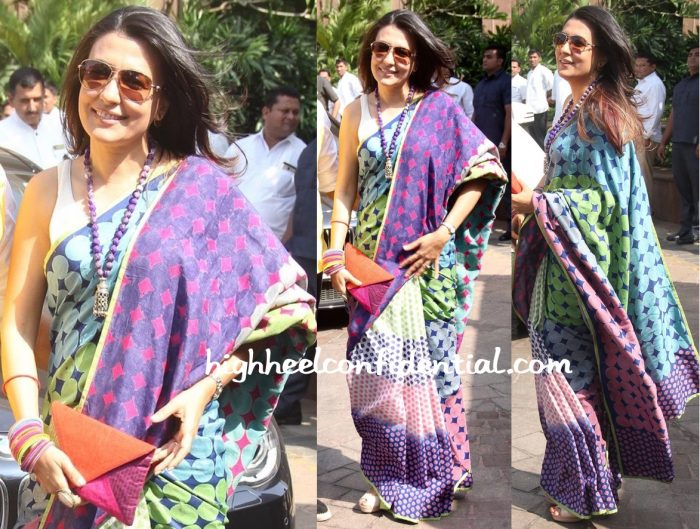 Mini Mathur In A Brahma Karma Sari At Arpita Khan's Baby Shower