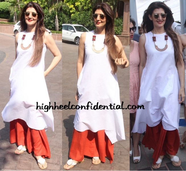 Sangeeta Bijlani In Anita Dongre Grassroot At Arpita Khan's Baby Shower-1