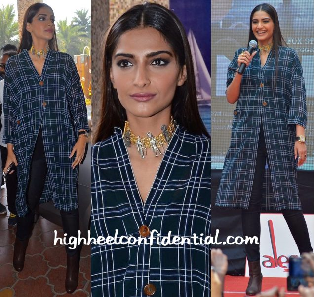 Sonam Kapoor In Dhruv Kapoor At Neerja Promotions-1