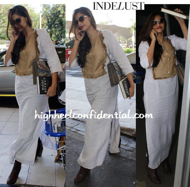Sonam Kapoor (In Shift By Nimish Shah And Gucci) Photographed At The Airport-1