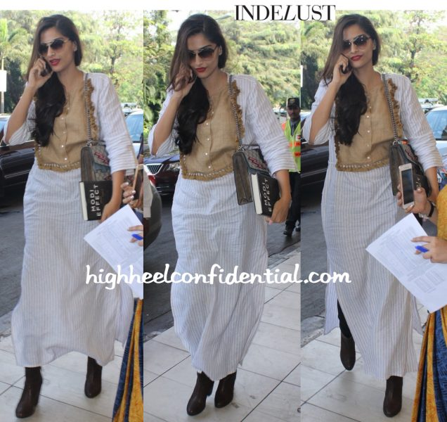 Sonam Kapoor (In Shift By Nimish Shah And Gucci) Photographed At The Airport-2