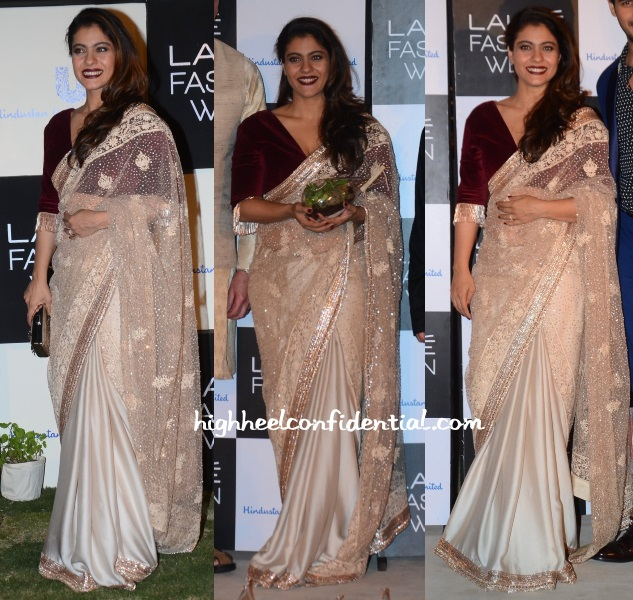 kajol-manish-malhotra-lakme-fashion-week-green-wardrobe