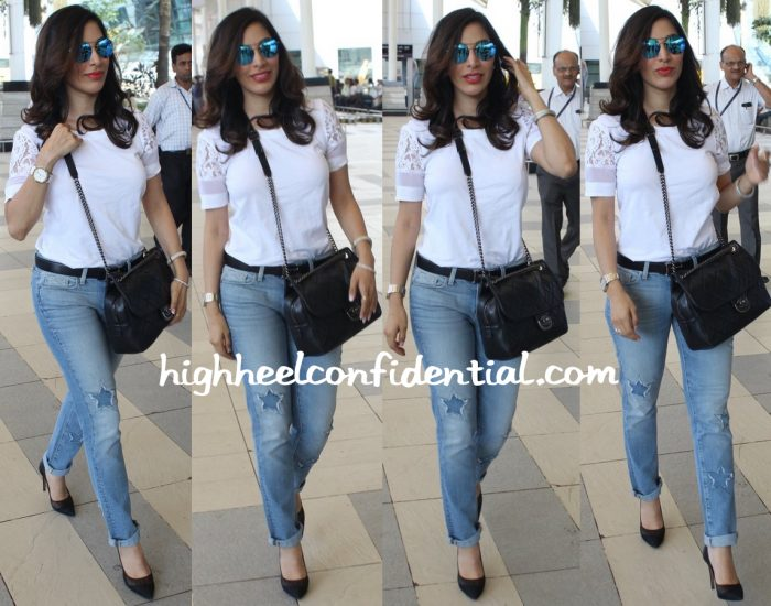 sophie choudry in maje paige denim chanel at mumbai airport