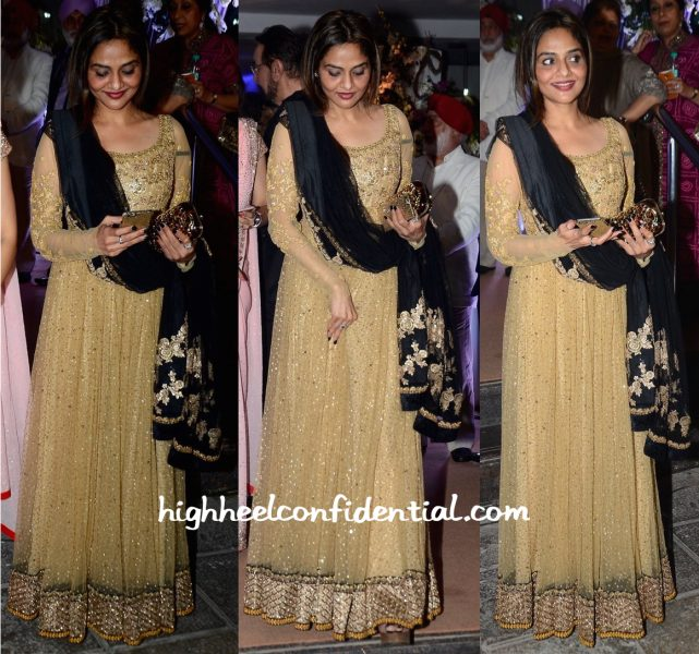 Madhoo Shah In Sabyasachi At Kresha Bajaj-Vanraj Zaveri Wedding Reception