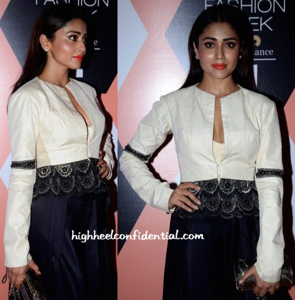 Shriya Saran Wears Anand Kabra To The Designer's Show At Lakme Fashion Week 2016-1