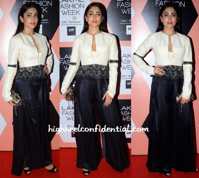 Shriya Saran Wears Anand Kabra To The Designer's Show At Lakme Fashion Week 2016
