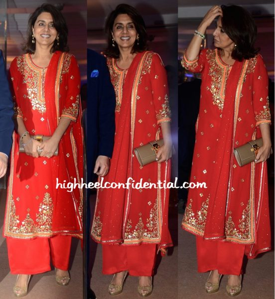 Sunita Kapoor (In Anamika Khanna) And Neetu Singh (In Abu Jani Sandeep Khosla) At Kresha Bajaj-Vanraj Zaveri Wedding Reception-2