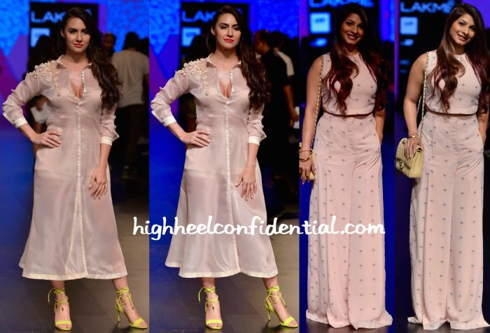 Lauren Gottlieb And Tanishaa Mukerji In Nishka Lulla At Lakme Fashion Week Summer Resort 2016