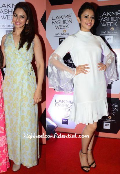 Rakul Preet Singh In Neeta Lulla And Urvashi Joneja At Lakme Fashion Week Summer Resort 2016-2