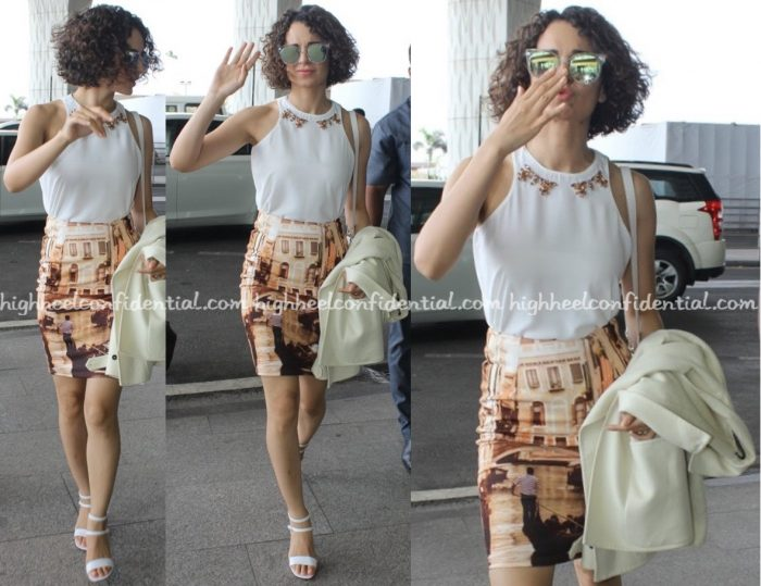 Travel(v)ogue- Kangana Ranaut (Wearing Vero Moda) Photographed At Mumbai Airport