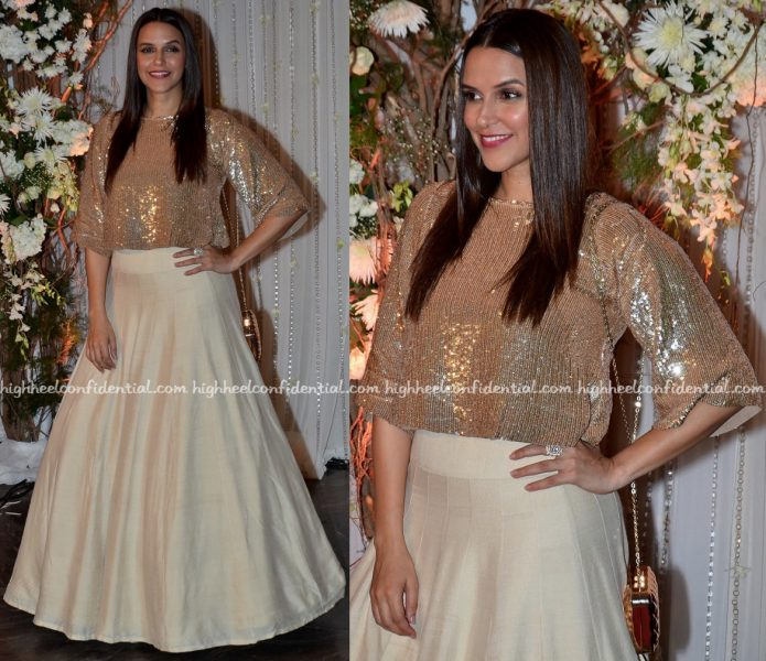 neha dhupia In Manish Malhotra At Bipasha Basu-Karan Singh Grover Wedding Reception-1