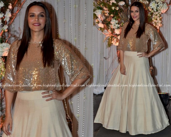 neha dhupia In Manish Malhotra At Bipasha Basu-Karan Singh Grover Wedding Reception-2