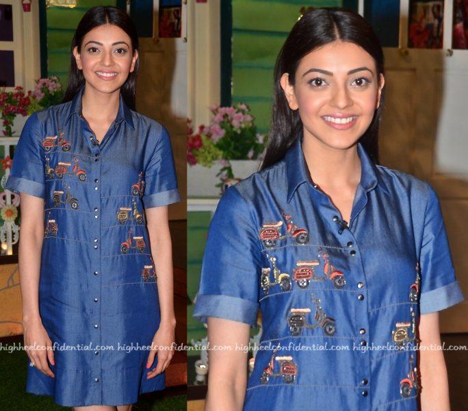 Kajal Aggarwal Wears Shahin Mannan To The Kapil Sharma Show Sets For 'Do Lafzon Ki Kahani' Promotions-2
