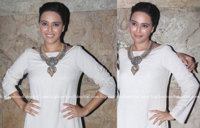 Swara Bhaskar Wears Anita Dongre Grassroot To Nil Battey Sannata Screening-2