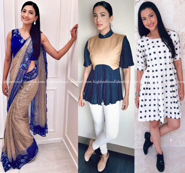 Gauahar Khan In Rabani Rakha Six Buttons Down And Mogra Designs At Fever Promotions-1