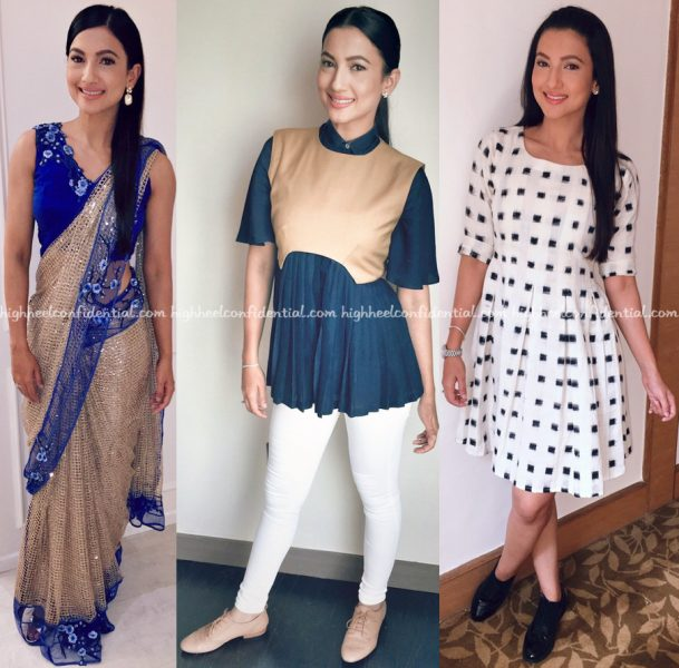 Gauahar Khan In Rabani Rakha Six Buttons Down And Mogra Designs At Fever Promotions-2