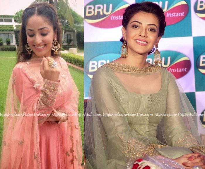 In Rimple And Harpreet Narula- Kajal Aggarwal At An Event For Bru And Yami Gautam At PC Jewellers Store Launch-2