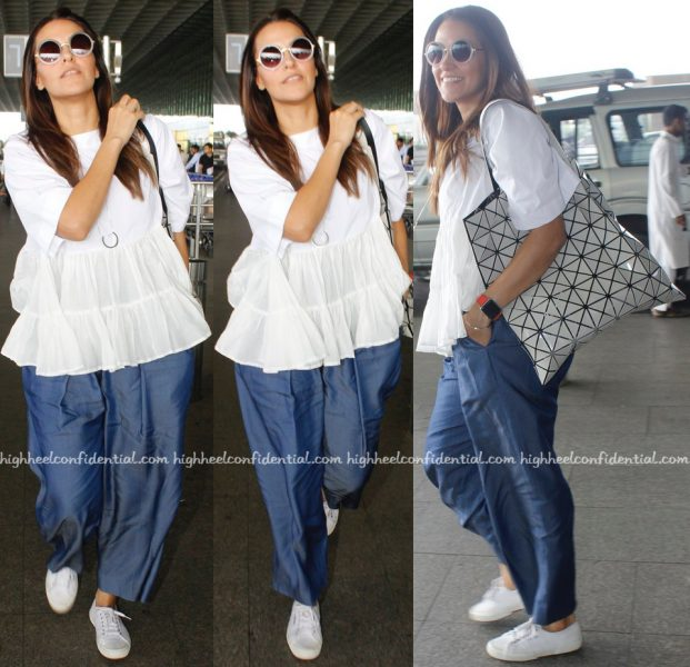 Neha Dhupia Photographed At Mumbai Airport