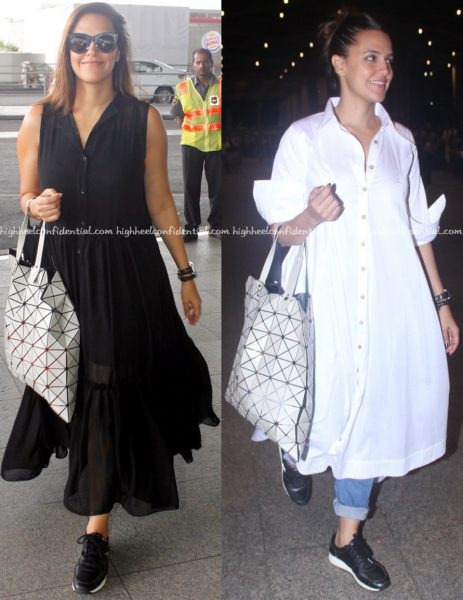 neha dhupia-mumbai airport-lovebirds designs-chola by sohaya-2