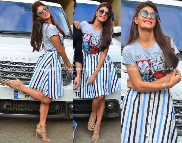 Jacqueline Fernandez Wears H&M And Madison To 'A Flying Jatt' Promotions-2