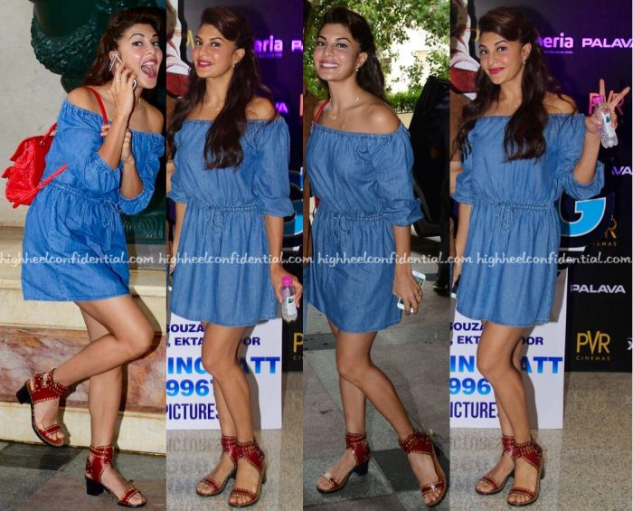 Jacqueline Fernandez Wears Koovs To A Flying Jatt Promotions-1