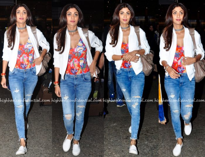 Shilpa Shetty Photographed At The Airport In H&M